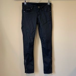 H&M Denim Black Skinny Low Waist Ankle Pants